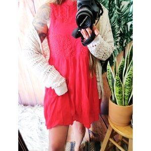 Umgee hot pink eyelet crotchet mini dress ✨